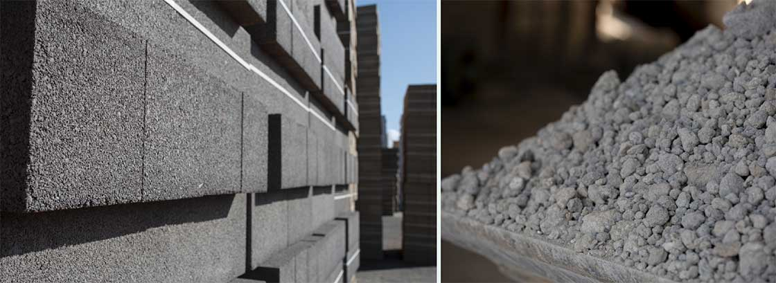 Concrete blocks manufactured using 'carbon negative' aggregate from O.C.O Technology Ltd.