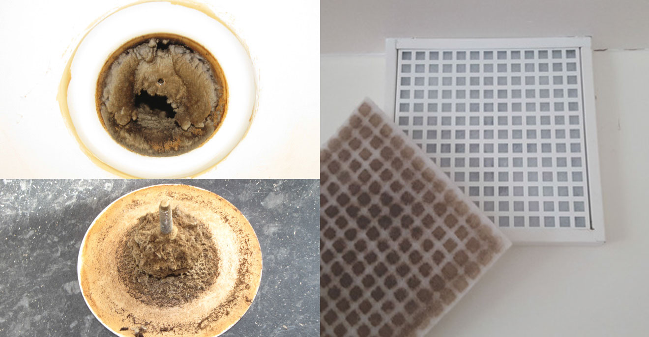 (top left and bottom) Examples of heavily contaminated kitchen extract using a valve-type terminal; (right photo) Best practice using an extract terminal with a filter cassette